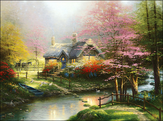 thomas kinkade stepping stone cottage paper and canvas art rh christcenteredmall com thomas kinkade stepping stone cottage floss