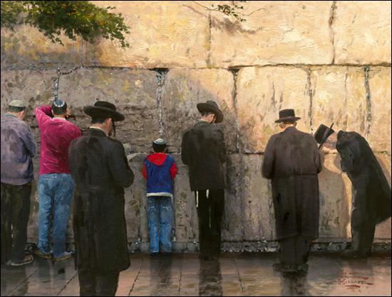 Thomas Kinkade - The Wailing Wall, Jerusalem - Paper and Canvas Art ...