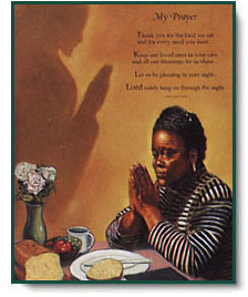 tobey meal time prayer black woman praying christ centered art